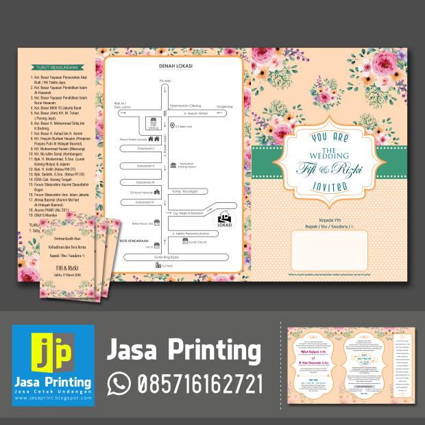 Jual Undangan Custom Lipat 3 Motif Flower Vintage Kota Tangerang