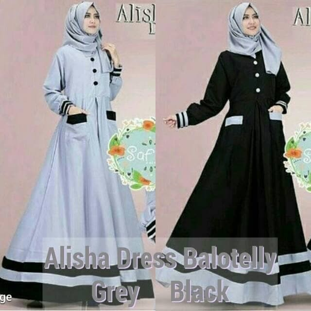 Grosir Pakaian muslim wanita model baru Gamis dress murah Alisha Dres ab7a9a9938
