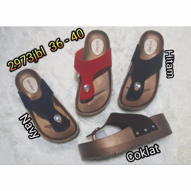 jelly sandal jepit wedges bara bara sendal wanita import 2973jbl
