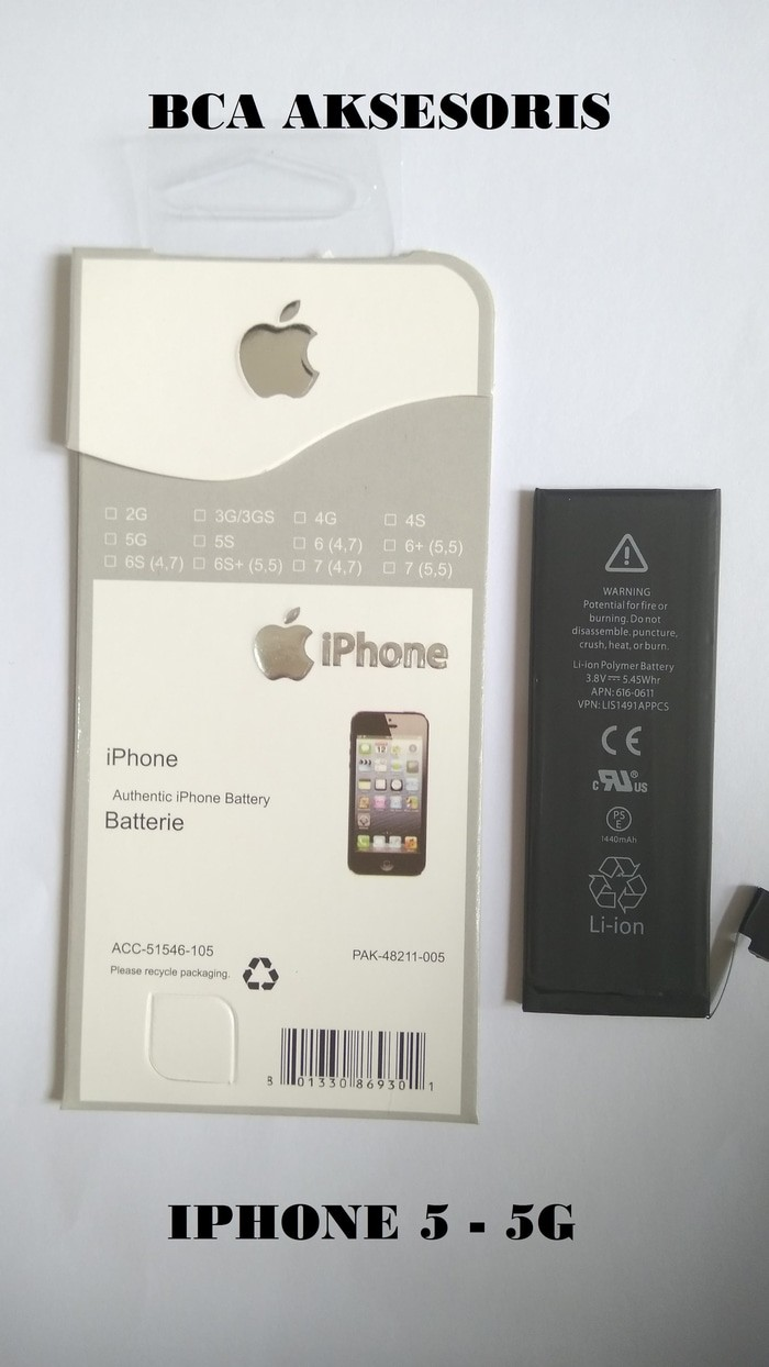 BATRE BATTERY BATERAI APPLE IPHONE 5 - 5G -1440MAH ORIGINAL 100%