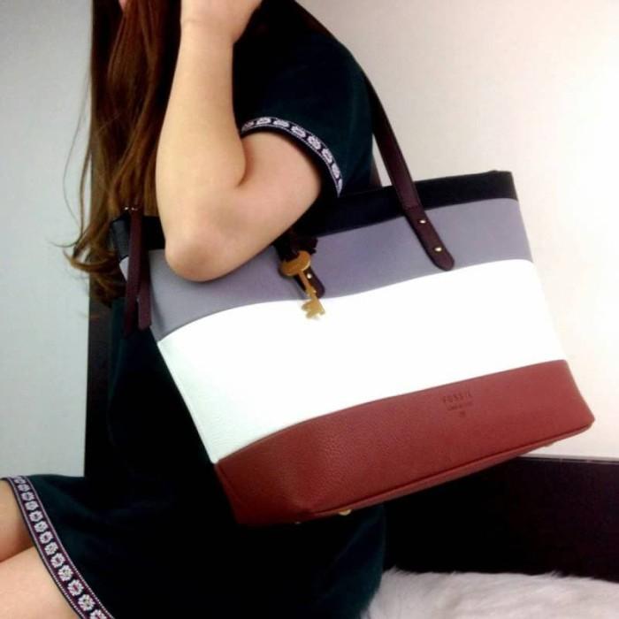 TAS WANITA FOSSIL Jenna Leather Multicolours Stripe Shopper Bag