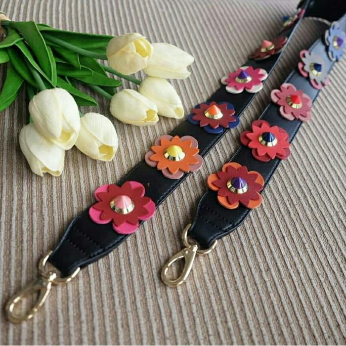 Long Strap Bag Fashion Flower BKK Import Bangkok / Tali Tas Bunga - Hitam