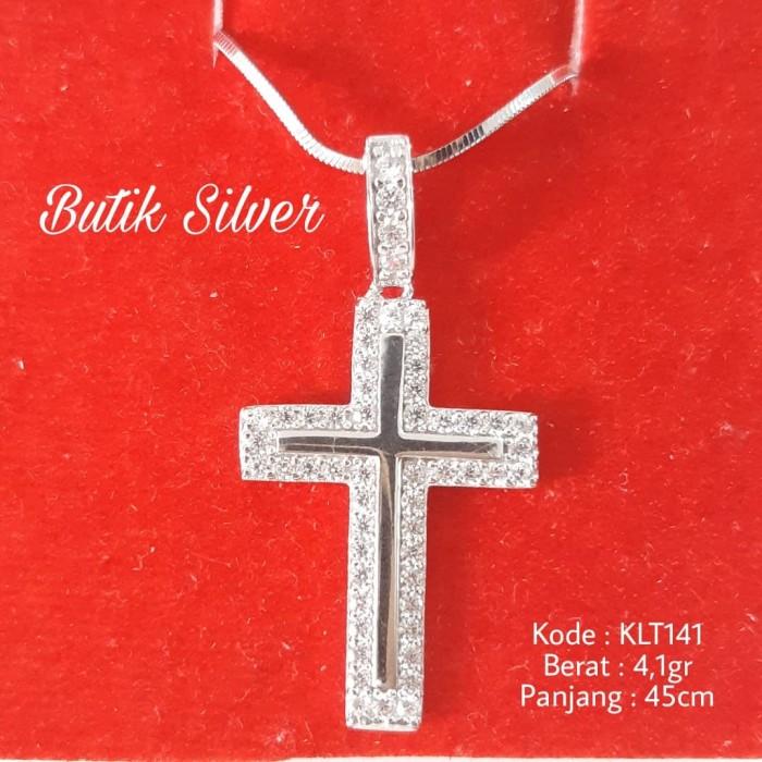 Foto Produk Paket Set Kalung Rantai Liontin Bandul Salib Kristal Perak 925 KLT141 dari Nona Jojo Shop