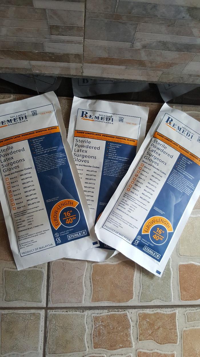 Jual Sarung Tangan Steril Nitrile Non Powder Harga Rp 67000 Examination Gloves Remedi Ginekologi Panjang 75