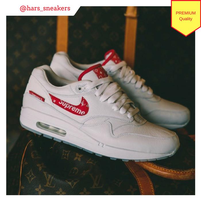 692fff38058f Jual Sepatu Nike Air Max 1 Supreme x Louis Vuitton White Red Premium ...