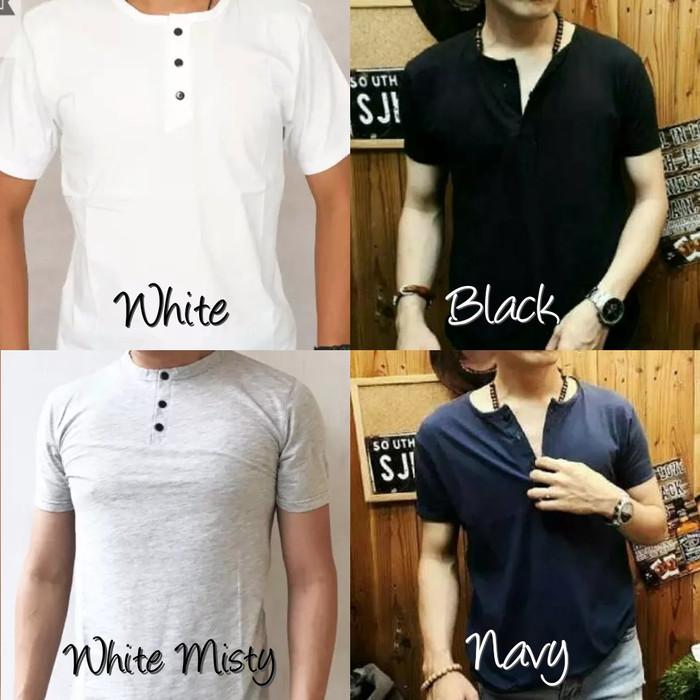 Kaos Pria/Kaos Polos Kancing/Kaos Polos/Kaos Pria Terbaru/Kaos Simple - Hitam, M