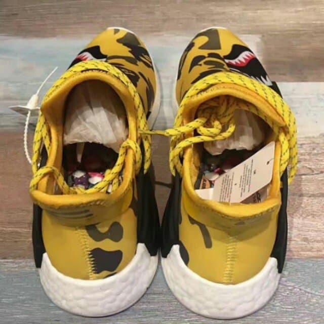 new concept e3a9d 95871 Adidas Nmd Human Race R1 X Pharrell Williams X Bape Yellow Shark Camo