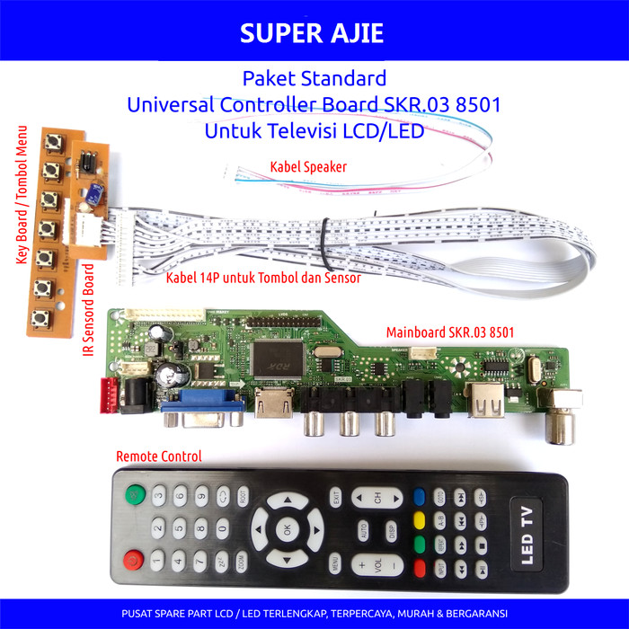 harga Paket universal lcd led tv monitor main board mesin driver skr isi 6pc Tokopedia.com