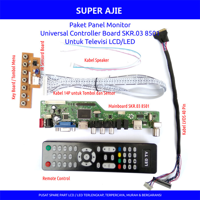 harga Paket universal lcd led tv monitor main board skr lvds ipex 6 bit 7pcs Tokopedia.com