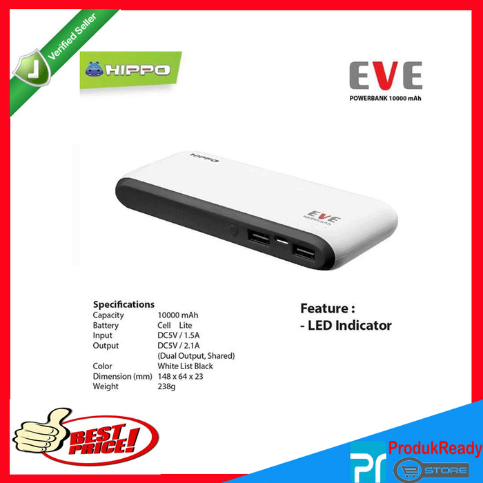 Power Bank Hippo Eve 10000mah Original Real Capacity