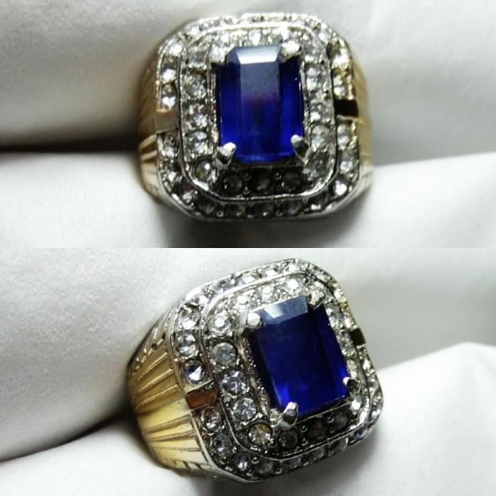 Natural Best Cincin Batu Akik Blue Safir Afrika Cutting Octagon a