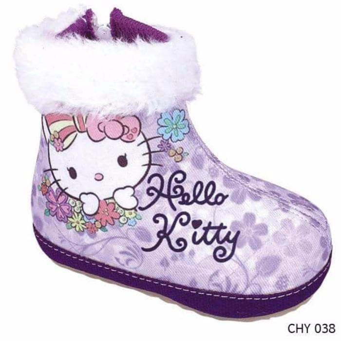 Jual Jual Sepatu Boot Model Bulu Cantik Gambar Hello Kitty Ungu