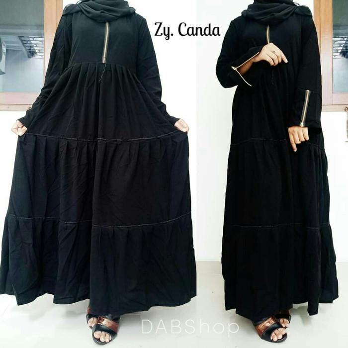 Jual Abaya Gamis Zipper Black Canda Busui Bahan Jetblack Dabs