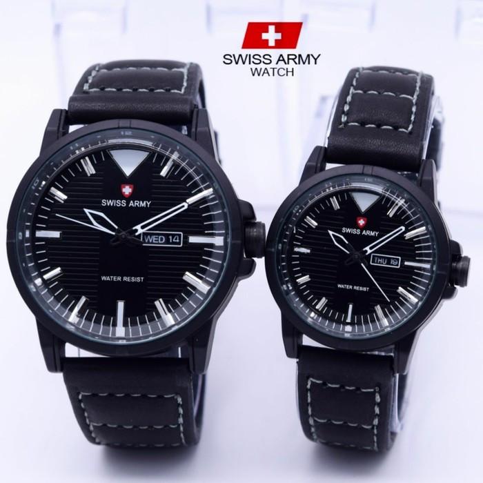 harga Jam tangan couple swiss army full black kulit semi super Tokopedia.com