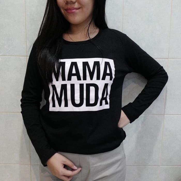 harga Baju kaos lengan panjang mama muda tumblr tee untuk cewe t-shirt cotto Tokopedia.com