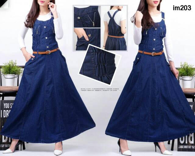 Jual Dress Wanita Terbaru Overall Dress Jeans Denim Rok Mekar With