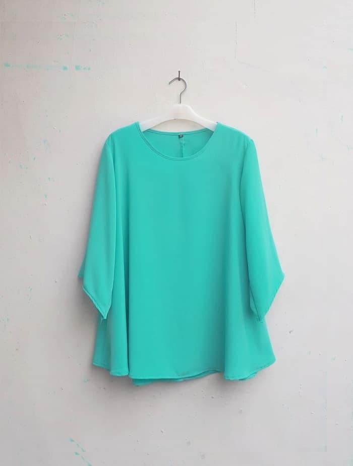 baju atasan wanita Blouse Wanita Big Size 2L, 3L, 4L & 5L Warna Hijau