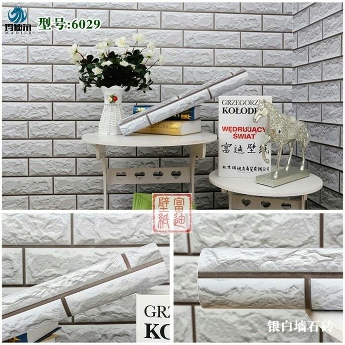 Jual Bata putih 3D 45 cm x 10 mtr ~ Wallpaper dinding