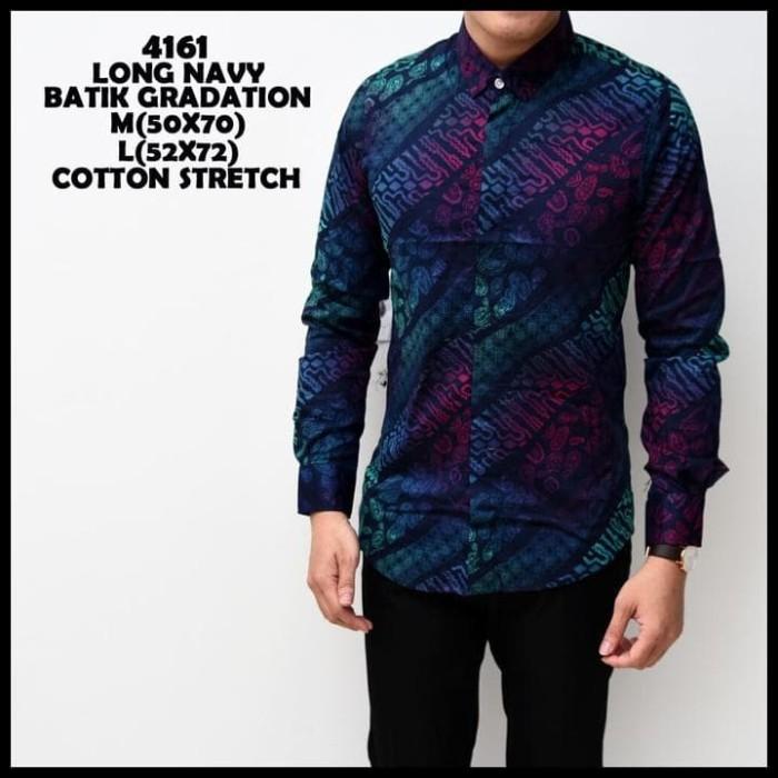 Kemeja Batik Pria Gradation Navy Panjang Slimfit Baju Batik