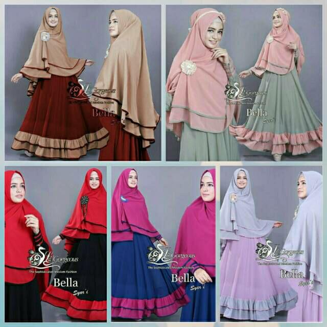Baju Gamis Bella Syari'i / Baju Muslim Wanita / Baju Gamis Terbaru - Maroon Coksu, Allsize