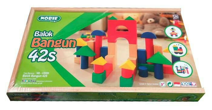 ... harga Indonesia wooden toys - mainan kayu edukatif balok bangun kayu 42s Tokopedia.com