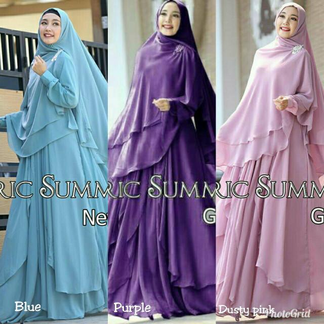 Jual Baju Pakaian Muslim Gamis Syar I Warna Ungu Biru Dusty Pink