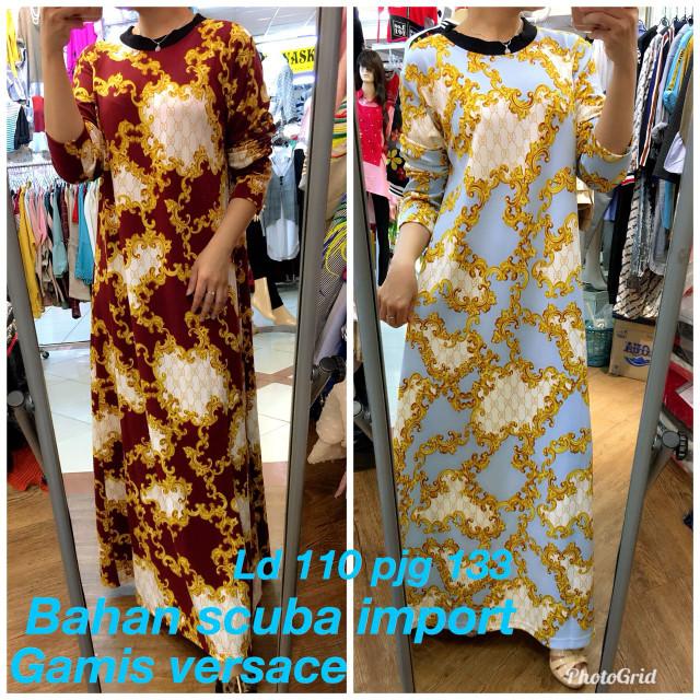 Jual Long Dress Gamis Versace Baju Panjang Baju Terusan All 4 U