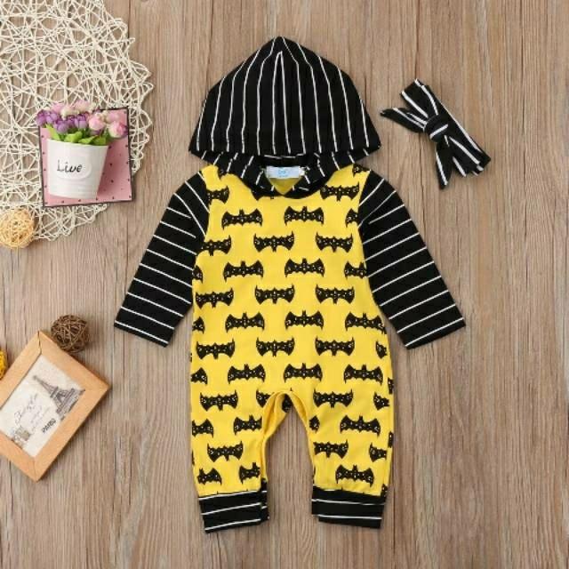 romper bayi motif Batman hoodie black yellow keren
