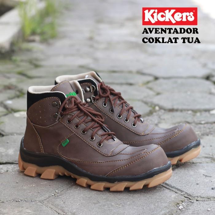 Sepatu Boots Pria Safety Gunung Hiking Kickers Aventador Terlaris - Cokelat  Tua 178eafa8b4