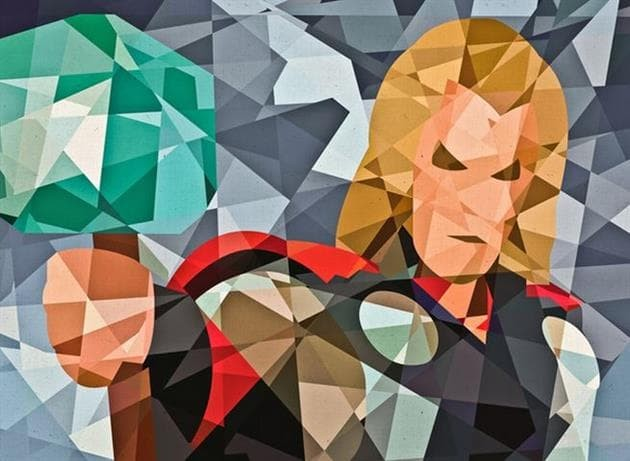 harga Superhero digital art [thor-geo] size 30x30cm Tokopedia.com