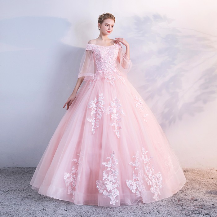 Jual Gaun Pengantin 1804012 Pink Sabrina Lengan Siku Wedding Gown