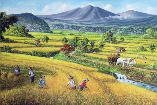 5000 Koleksi Gambar Lukisan Pemandangan Sawah Padi Terbaru