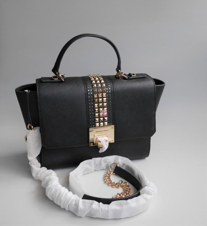 0bba39e79e3146 Jual Michael Kors Tina Medium Studded Black Leather Satchel ...