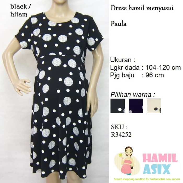 harga Paula – dress hamil menyusui midi pendek yen-yen wedges polkadot Tokopedia.com