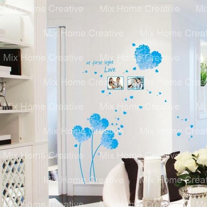 50X70 AM7054 BLUE LOVE FRAME WALLSTICKER WAL STIKER DINDING
