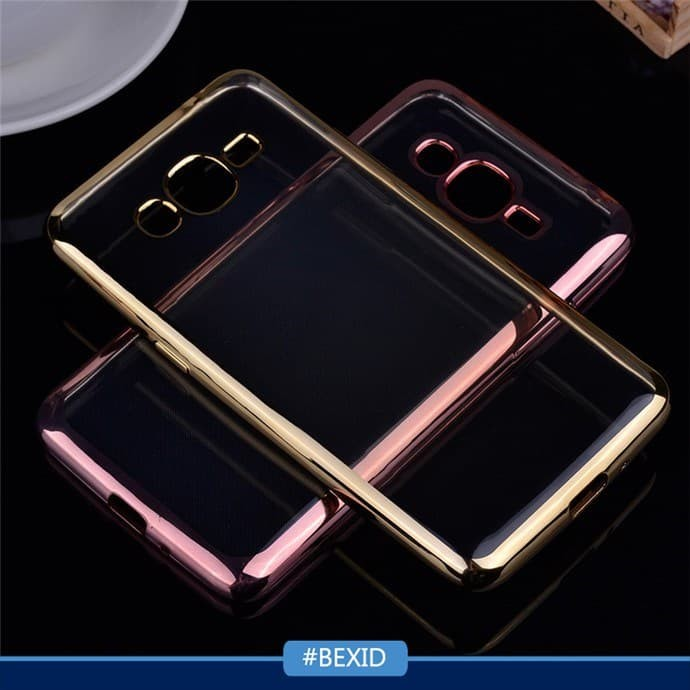 Samsung Galaxy J2 Prime Softcase Ultrathin Shining Plating Chrome Case - Emas