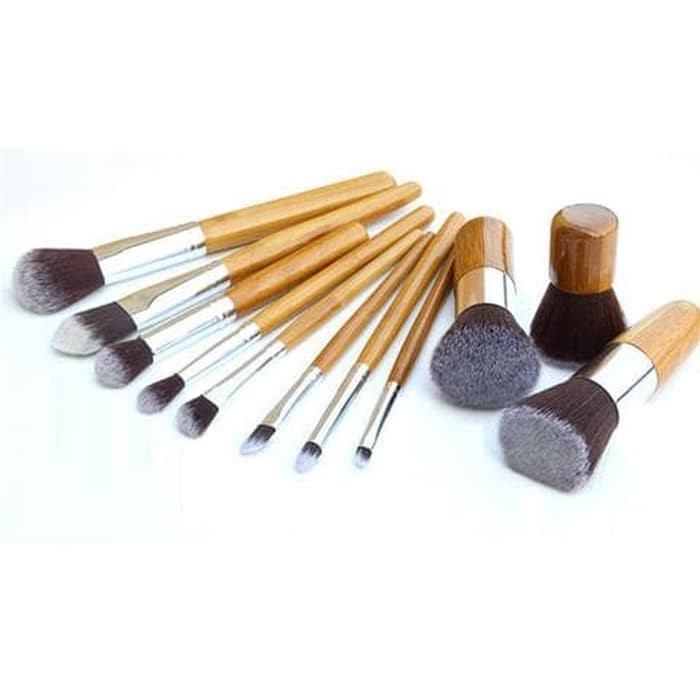 Make up brush wood 11set/kuas makeup| make up brush 11 set with pouch