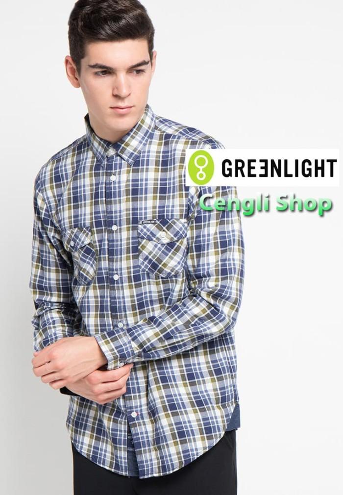 Kemeja Pria GREENLIGHT Original Lengan Panjang Flanel Kotak Relaxed