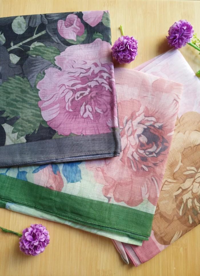 Hijab Organza Print | JIlbab Segiempat Motif | Umama Feather Print Ba