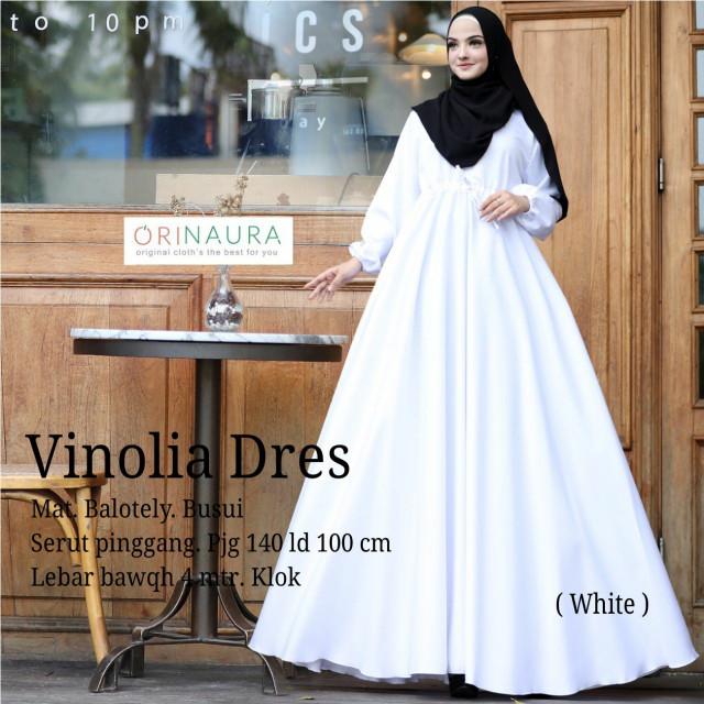 Jual Baju Muslim Gamis Dress Putih Polos Baloteli Vinolia Ekslusif