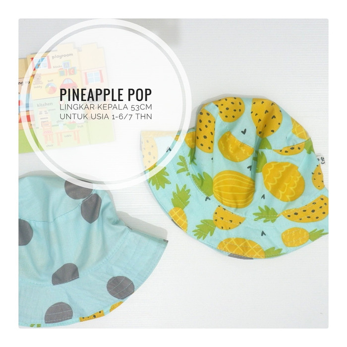 harga Topi bucket hat anak motif pineapple pop Tokopedia.com