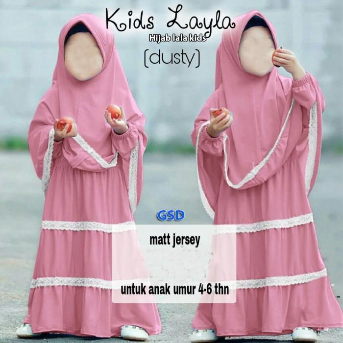 Baju Gamis Muslim Anak Perempuan - Kids layla dusty-hijab lala kids