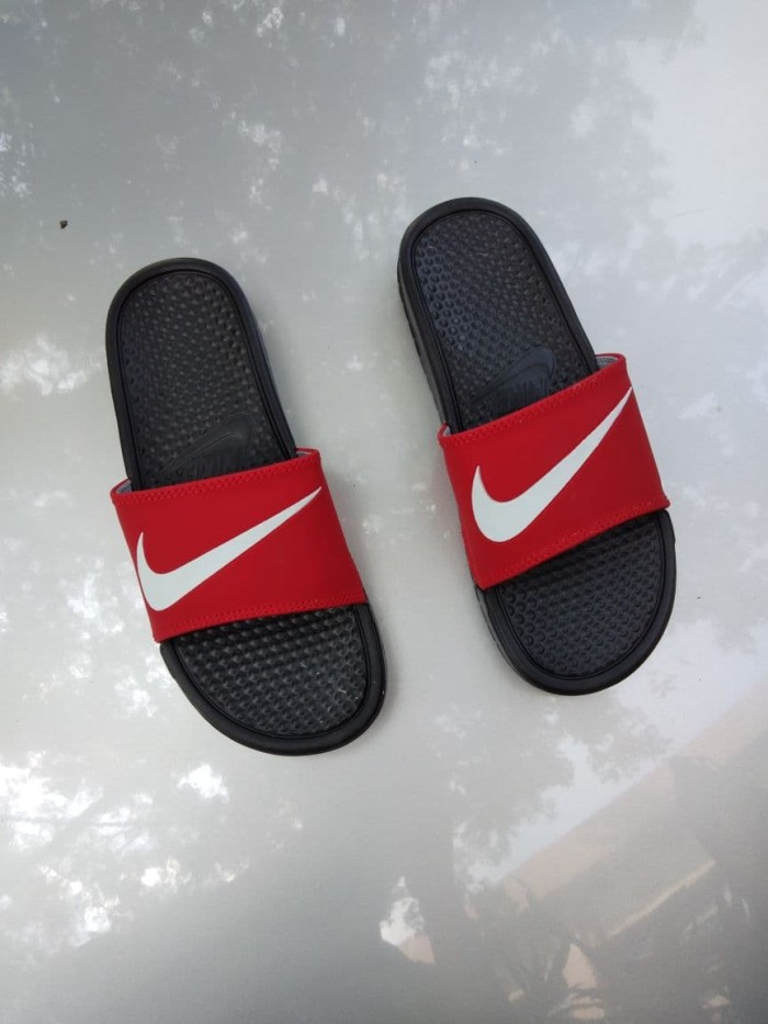 f3414b266f80 Jual sandal nike benassi swoosh black red lis white - rizky sneakers ...