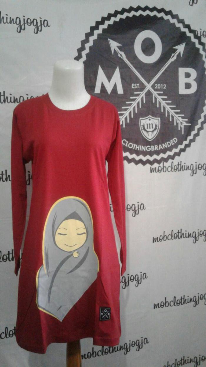 Jual Kaos Kartun Hijab Warna Merah Lengan Panjang Syar I Bisa Untk Olahraga Merah L Kab Sleman Kaos MOB Clothing
