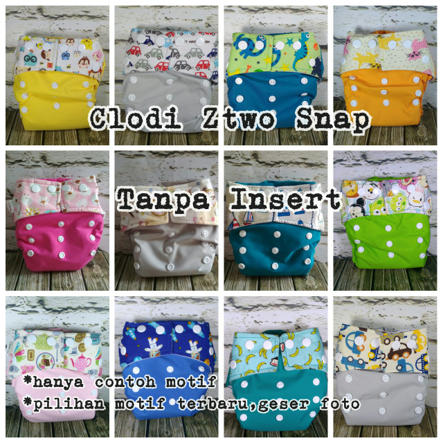 Clodi ztwo snap kancing cover only clothdiaper baby bayi popok kain