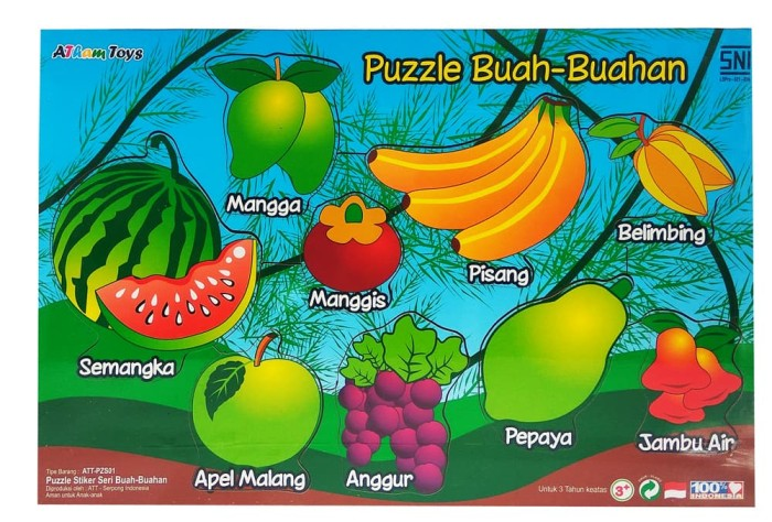 Indonesia Wooden Toys - Mainan Kayu Edukatif Puzzle Stiker Seri Buah B