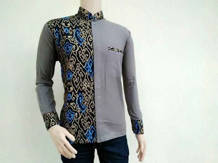 Jual Mantap Kemeja Kombinasi Batik Lengan Panjang Model Baju Koko