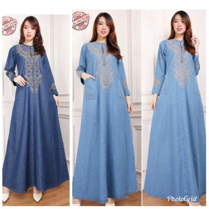 Jual Terbaru Maxi Dress Gamis Nakilla Longdress Jeans Wanita Dki