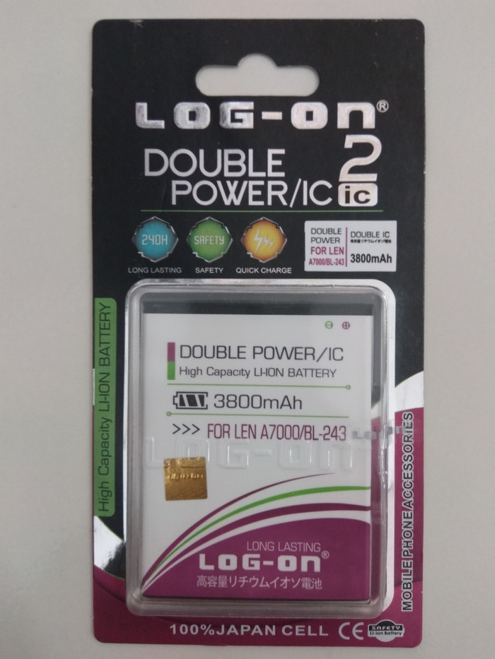 Batre Dobel Power Lenovo A7000/BL-243 Baterai/Battery Log On Double IC