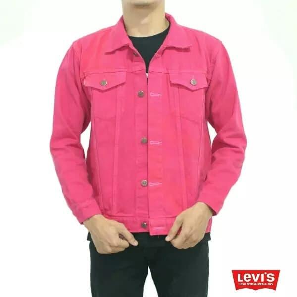 Jaket jeans bahan dasar kain denim pria wanita pink fanta merah muda - Fuchsia, XL